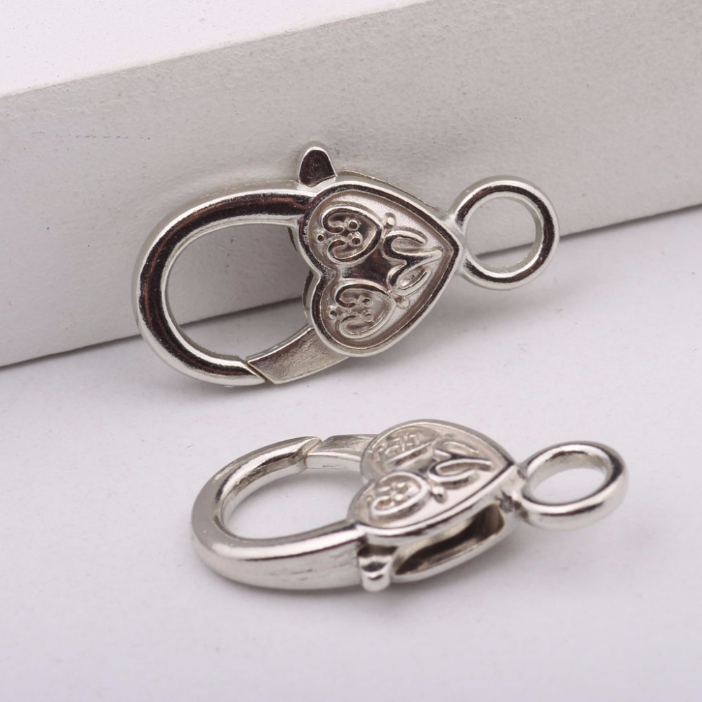reidgaller 10pcs heart shape lobster clasps hooks for jewellery making 13x27mm white k plated ...