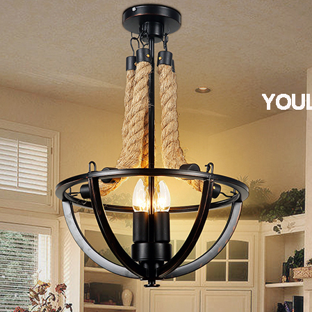 American Country Hanging Lights Fixture Pendant Lamps Hemp Rope Lamp ...