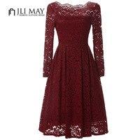 JLI MAY Women Lace Dress Elegant Evening Party Slash Neck Long Sleeve Midi Off Shoulder Womens