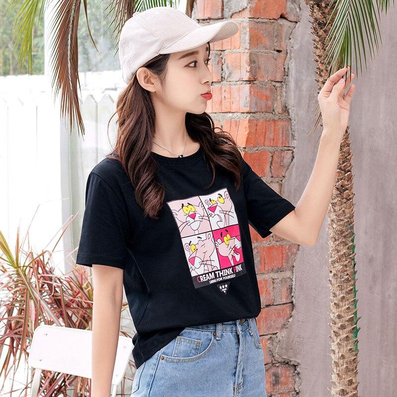 T-shirts T Shirt Women 3D Cat Print Harajuku Cartoon White Tops Shirts 2018 Short Sleeve Cotton Korean Style Holographic T Shirt