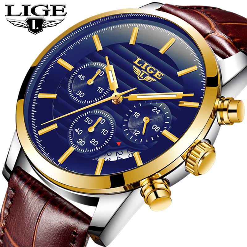 LIGE Mens Watches Top Brand Luxury Gold Fashion Casual Quartz Watch Men Leather Waterproof Sport Wrist Watch Relogio Masculino mens watch top luxury brand fashion hollow clock male casual sport wristwatch men pirate skull style quartz watch reloj homber
