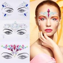 Temporary Tattoo Face Jewelry Rhinestone Eyebrow Heart Sticker Decoration Party Makeup Body Shiny Festival Flash Art