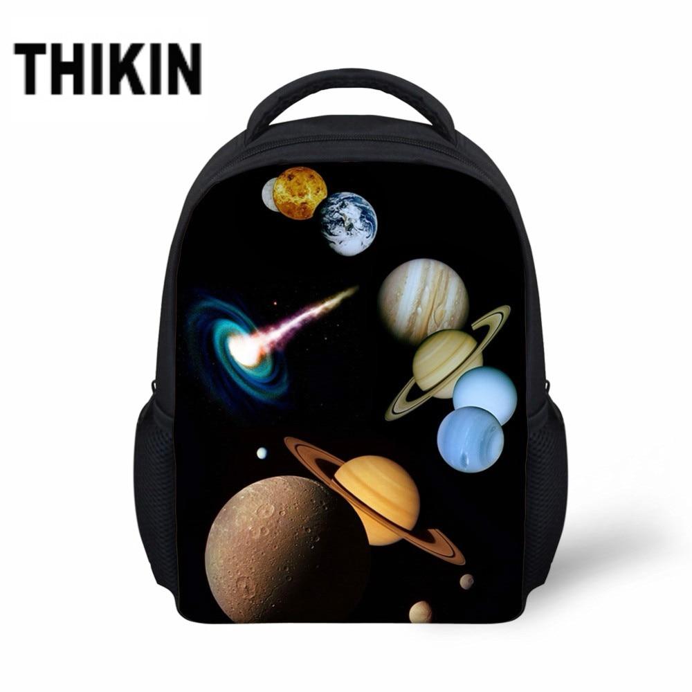 THIKIN Mini Schoolbags For Kindergarten Galaxy /Universe/Planet Pattern Casual Kids Backpacks Students School Book Bags Mochila