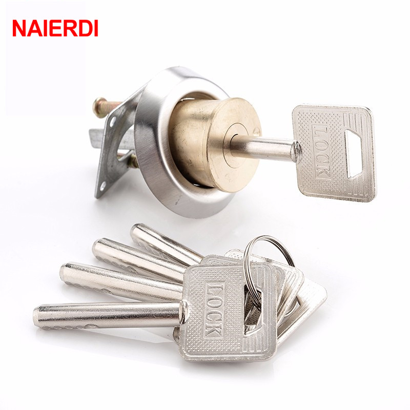 NAIERDI Entrance Door Lock Cylinder Brass Copper Core With Smart Keys For Home Gate Furniture Hardware