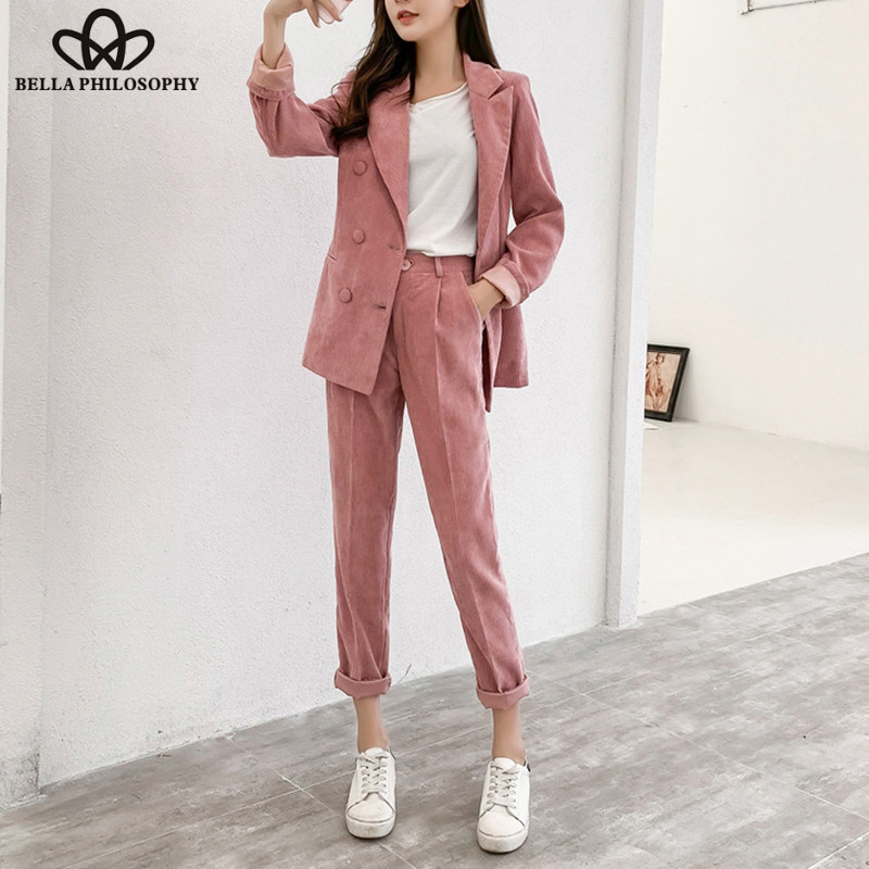 Wonder 2018 Nieuwe High Street Double Breasted Corduroy Blazer Broek Warme Jas Office Lady Lange Mouwen Dames Jas Dames Suits