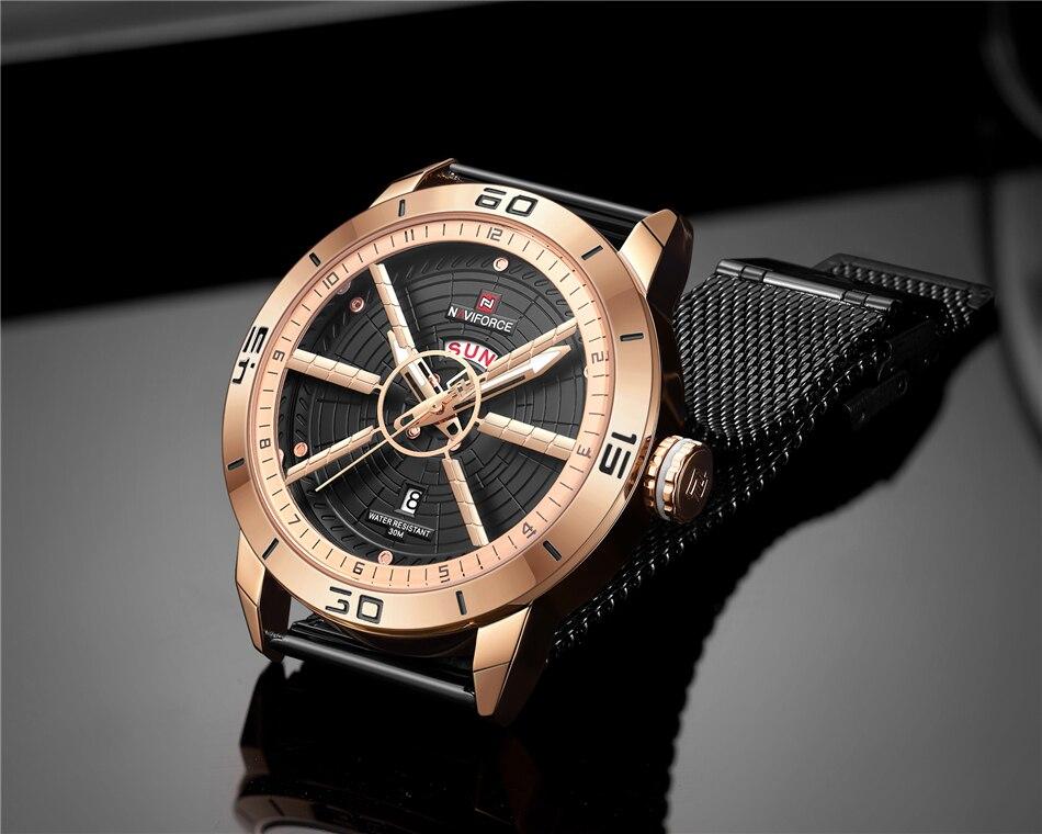 NAVIFORCE Mens Watches Top Brand Luxury Quartz Watch Men Full Steel Men Watch Sport Fashion Business Watches Relogio Masculino 31
