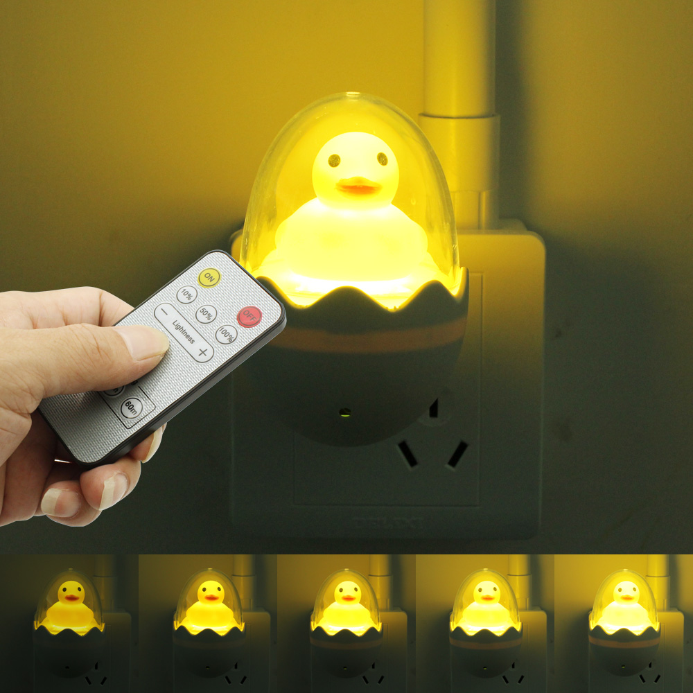 Lights & Lighting Wall Socket Lamps Us Eu Plug Led Night Light Ac 110-220v Light Remote Control Yellow Duck Bedroom Lamp Gift For Children Cute Led Night Lights