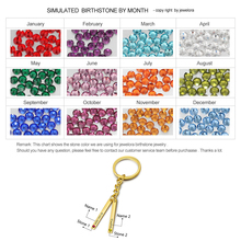 Personalized Birthstone Name Key Chains Gold Color