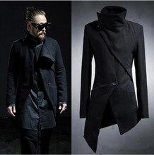 Мужская Пальто Длинные Черные Пальто Slim Fit Куртка Ветровка 2016 Корейский Harajuku Готический Нерегулярные Дизайнер Панк(China (Mainland))
