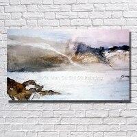 손으로 그린 아름다운 OilPainting 캔버스 강 산악 추상 그림 현대 홈 장식 벽 사진 액자 예술