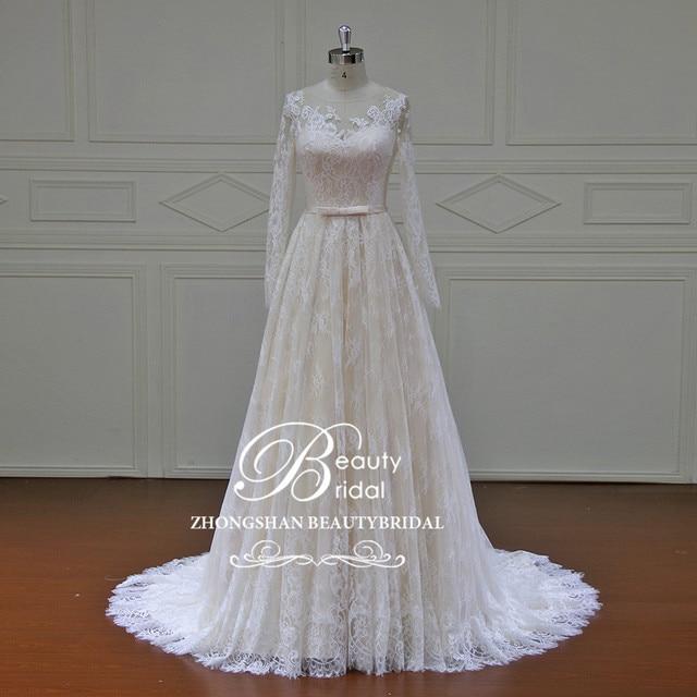 High End Beach Wedding Dresses 2019 Long Sleeves Color Court Train