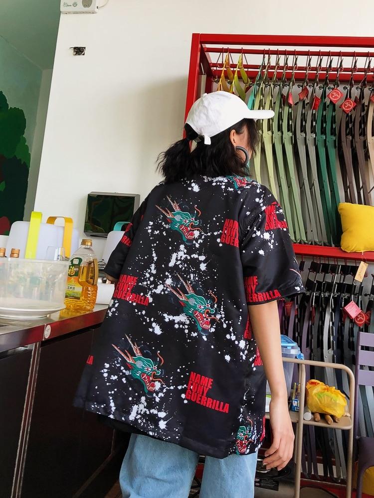 À Jasmin Guochao Noir Chemise Bf Courtes Marée Chemises Larges Hip noir hop Couple Imprimée Foncé blanc Encre De Manches xXrSqx