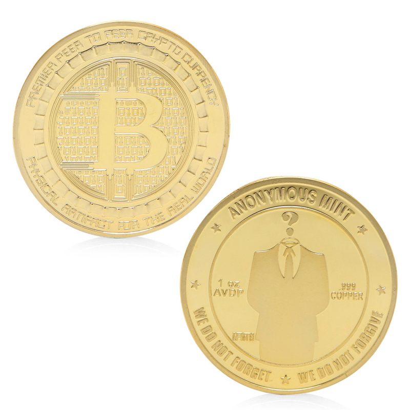 Coin Gold Plated Anonymous Mint Bitcoin Commemorative Coins Collection Souvenir Gift