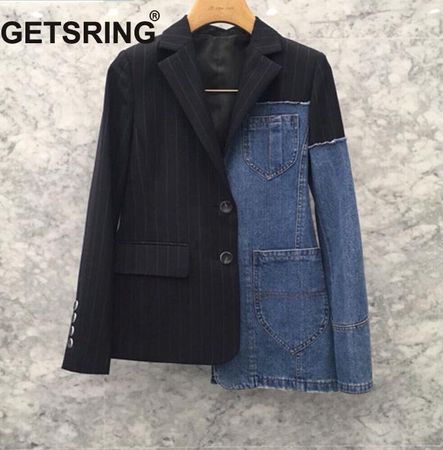 100% QualitäT Getsring Frauen Jacke Denim Jacke Für Frauen Blazer Jeans Anzug Blazer Denim Mantel Langarm Asymmetrische Mantel Gestreiften Frauen Top Modischer (In) Stil;