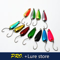 10pcs 2g fishing metal spoon lure baits, spinner lure baits, fishing lure tackle bass trout lure baits, fishing hook spoon baits