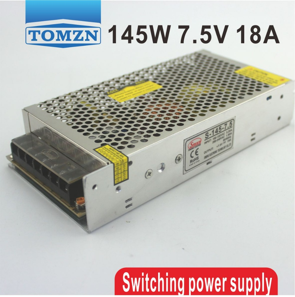 145W 7.5V 18A Single Output Switching power supply for LED Strip light AC to DC