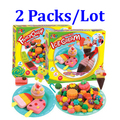 2 Packs /lot   3d play doh plasticine ice cream mould toiletry kit puzzle diy toy eco-friendly Choi mud toys children's toys