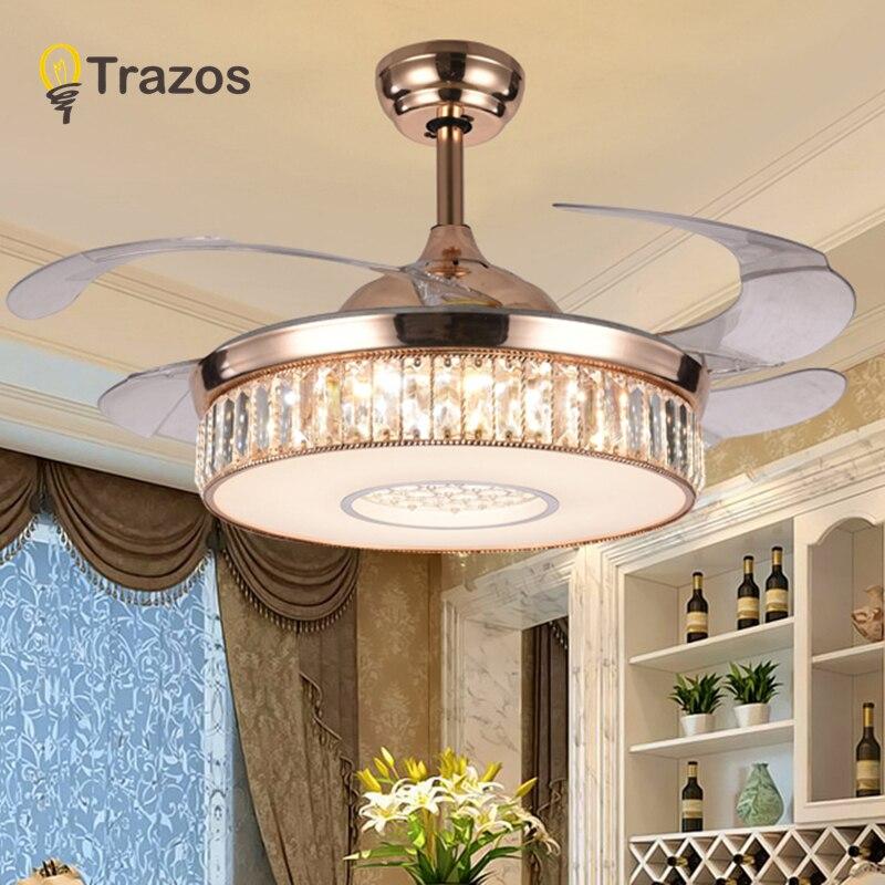 TRAZOS 42 pollici A LED lampadario di Cristallo luci ventilatore soggiorno moderno ventilatore con telecomando di controllo ventilateur plafonnier ventilatore