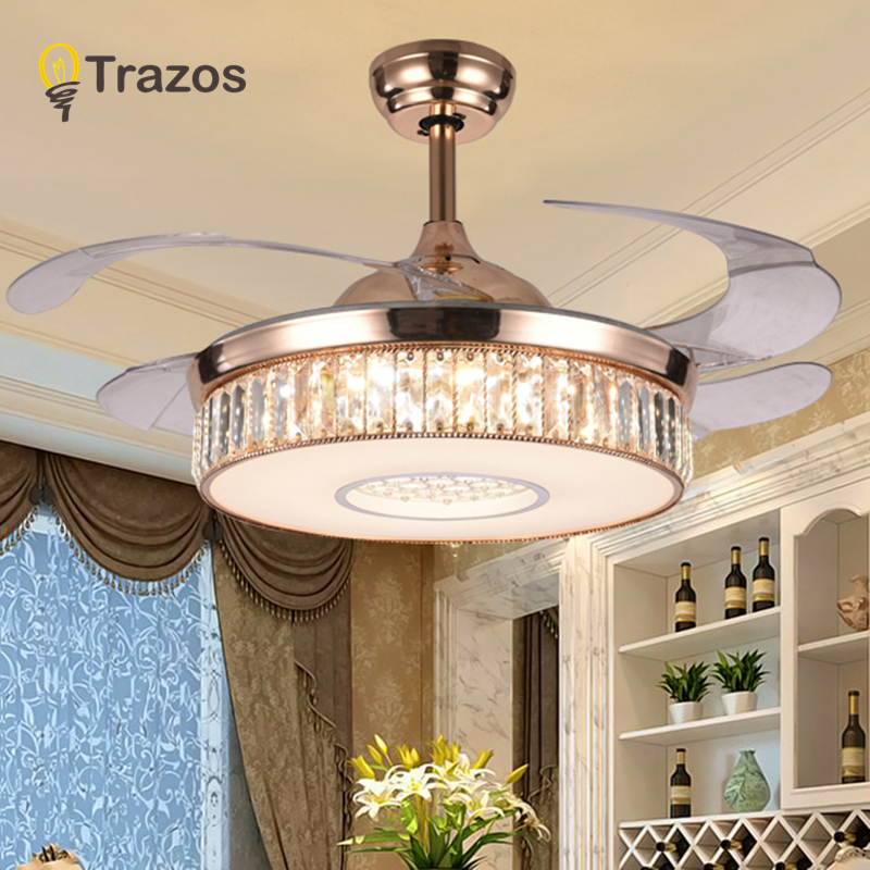 TRAZOS 42inch LED Crystal chandelier fan lights living room modern fan with remote control ventilateur plafonnier ventilador remote control fan chandelier home mute living room solid wood fan chandelier lights american antique retro chinese lights fan