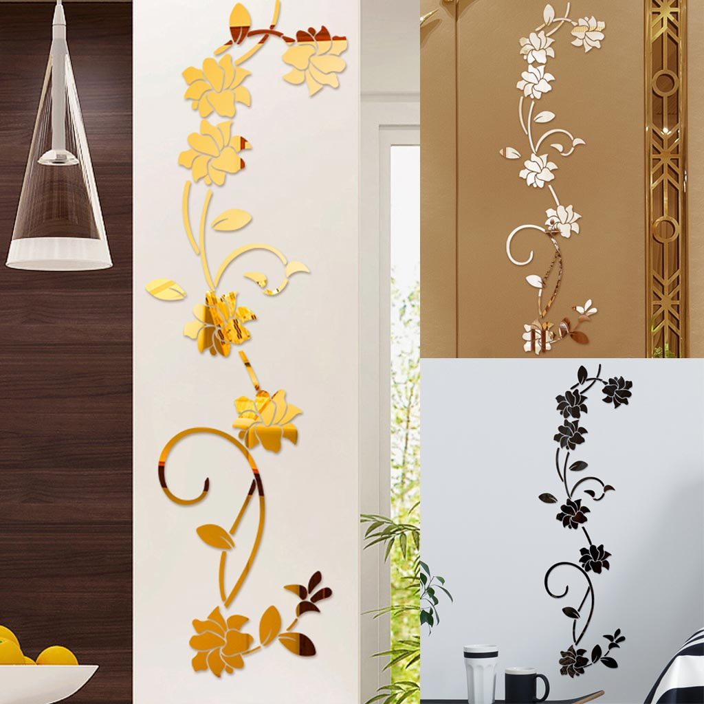 wall stickers decoration 3d wall stickers imitation Diy Flower Shape Acrylic Wall Sticker Modern Stickers Decoration 7#P6