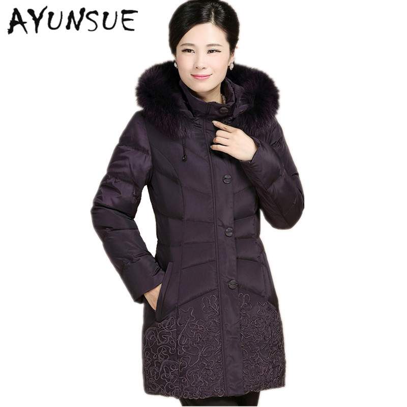 Winter mother s large fur collar down parkas coat women fashion embroidered  long hooded warm down jackets plus 943df3e4b16f