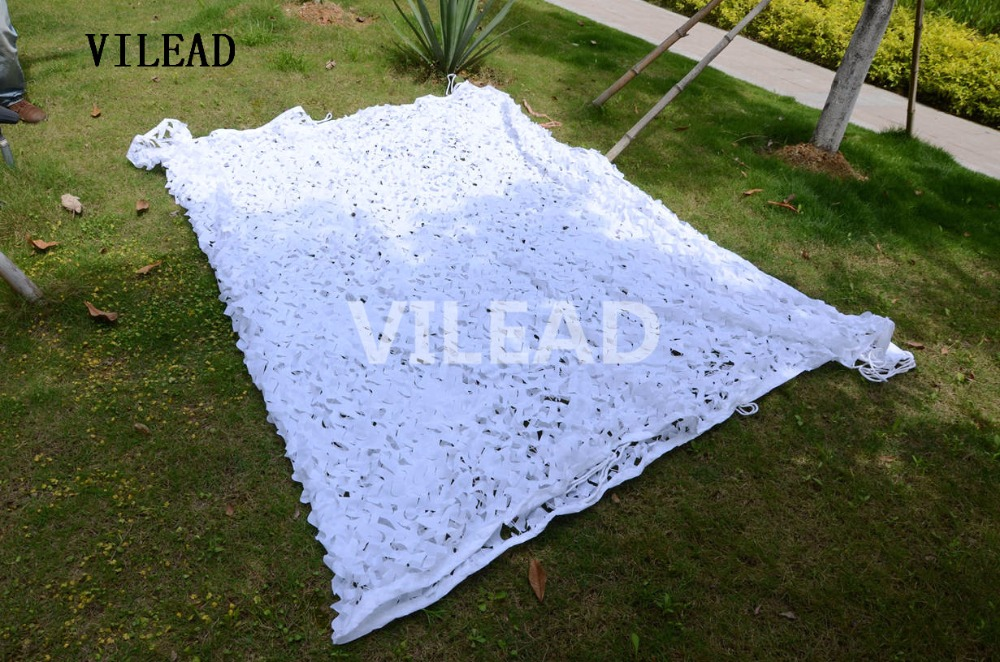 VILEAD 2.5M x 10M (8FT x 33FT) Snow White Digital Camouflage Net Military Army Camo Netting Sun Shelter for Hunting Camping Tent vilead 10m 33ft wide sea blue digital camouflage net military army camo netting sun shelter shade net for hunting camping tent