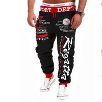 New 2016 Mens Joggers Pants Fashion Drawstring Elastic Waist Letter Printing Loose Sweatpants Man Sports Punk