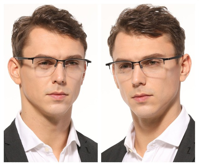 Semi Rim Óculos Homens Prescrição Óptica Óculos de Armação de Titânio puro Óculos dos homens Retângulo Espetáculo oculos de grau Masculino
