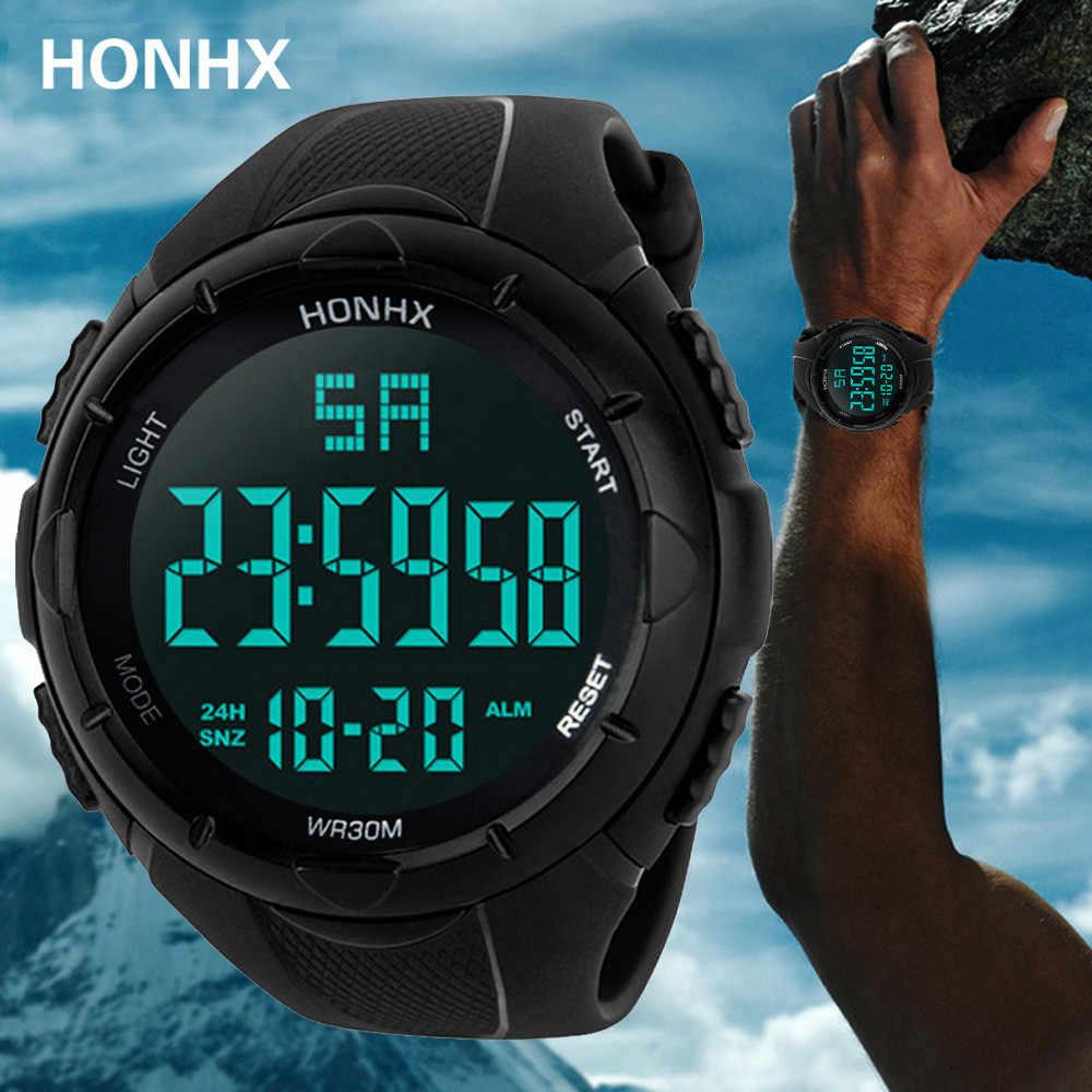 Relógio masculino luxuoso militar esportivo, analógico digital com led à prova d'água multifuncional