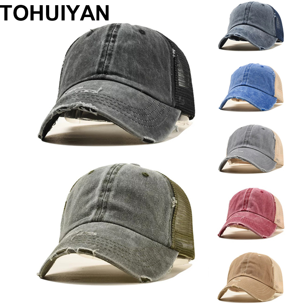 00e42656 TOHUIYAN Summer Washed Baseball Cap Men Vintage Snapback Hats Casquette  Bone Mesh Trucker Caps For Women Ponytail Fitted Hats