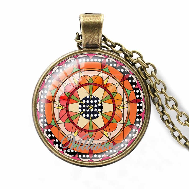 VILLWICE New DIY Bùa Mandala Vòng Cổ Glass Dome Thiêng Liêng Hình Học Chakra Zen Mặt Dây Chuyền Ấn Độ Phật Giáo Quà Tặng Đồ Trang Sức 2018