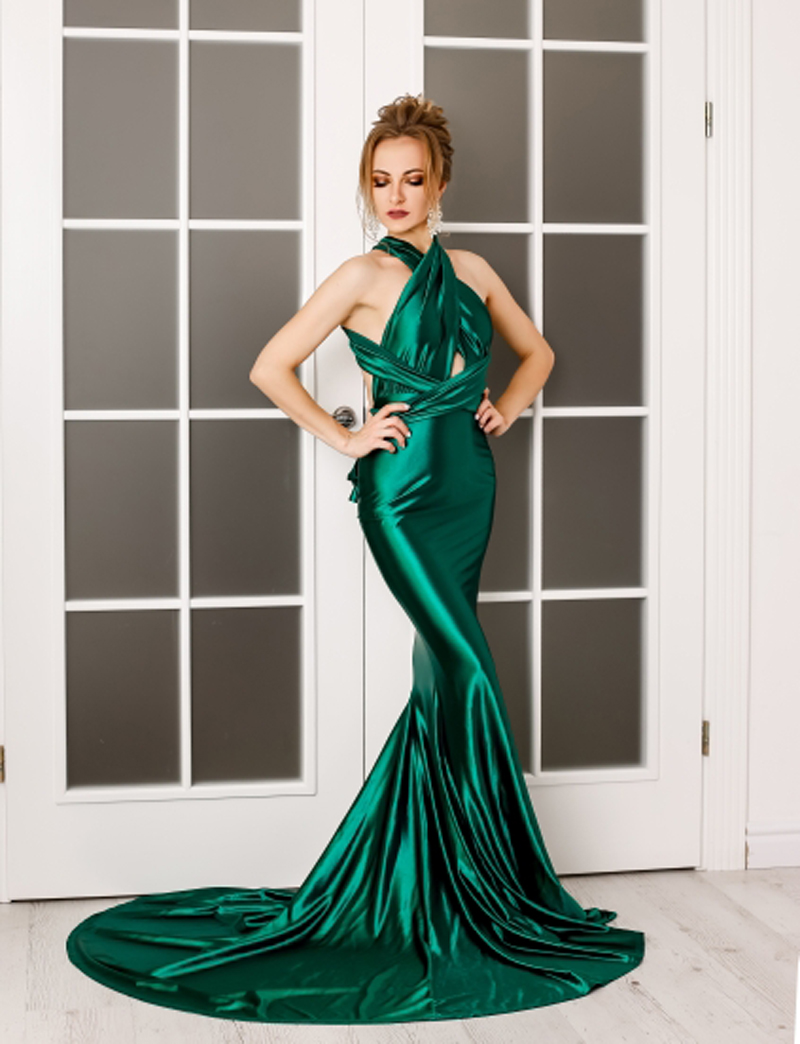 Elegant backless satin silk Mermaid tail Wonder dress