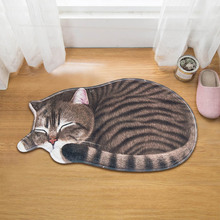 3D Cute Cat Floor Rug Irregular Doormat for Entrance