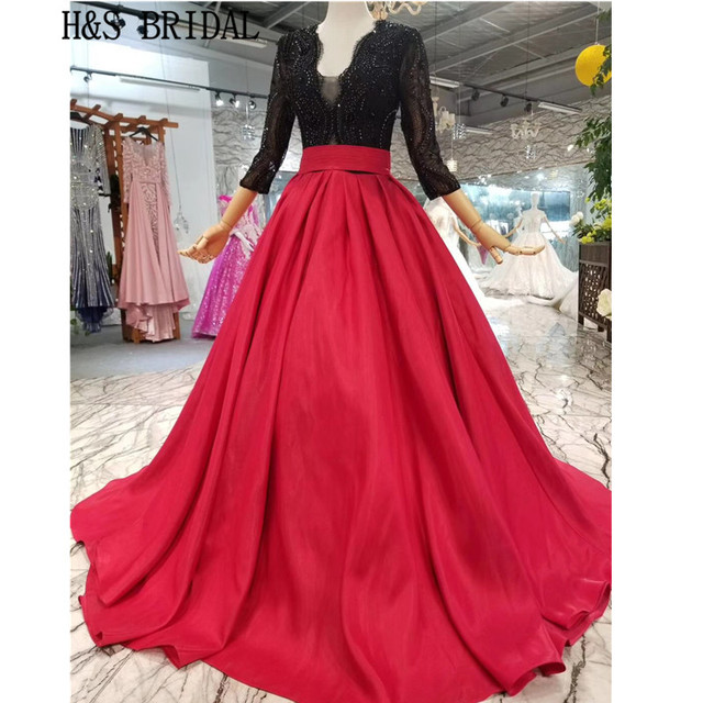 a399b794b H&S Bridal Long Sleeve Prom Dresses 2019 Red black V neck Lace elegant  formal dress Robe de Soiree vestidos de festa longo gowns
