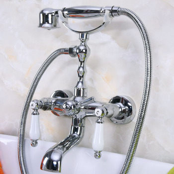 Polished Chrome Brass Double Ceramic Handles Wall Mounted Bathroom Clawfoot Bathtub Tub Faucet Mixer Tap w/Hand Shower ana201 wall mounted polished chrome round rain shower faucet tub mixer tap dual cross handles hand held shower head acy351