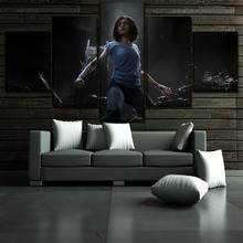 Canvas Painting Movie Alita Battle Angel Poster 5 Panel Modern Home Decor Bedroom Wall Art Modular Picture Print Artwork