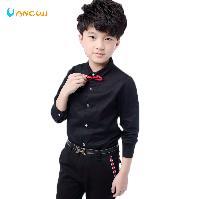 1caccd76 boys shirts hot sale boys white shirt 5-13 years old Solid color single-