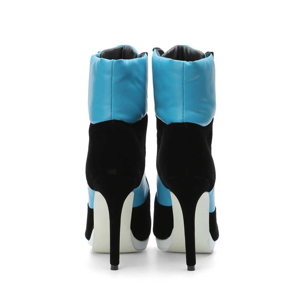 SARAIRIS artı boyutu 36-47 Lace Up patik bayanlar yuvarlak ayak ince yüksek topuklu ayakkabılar kadın sonbahar kış parti yarım çizmeler kadınlar 2019