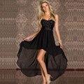 2016 mulheres escritório verão assimétrica dress preto/bege cor sólida vestidos de festa casual dress bodycon strapless dress w203140
