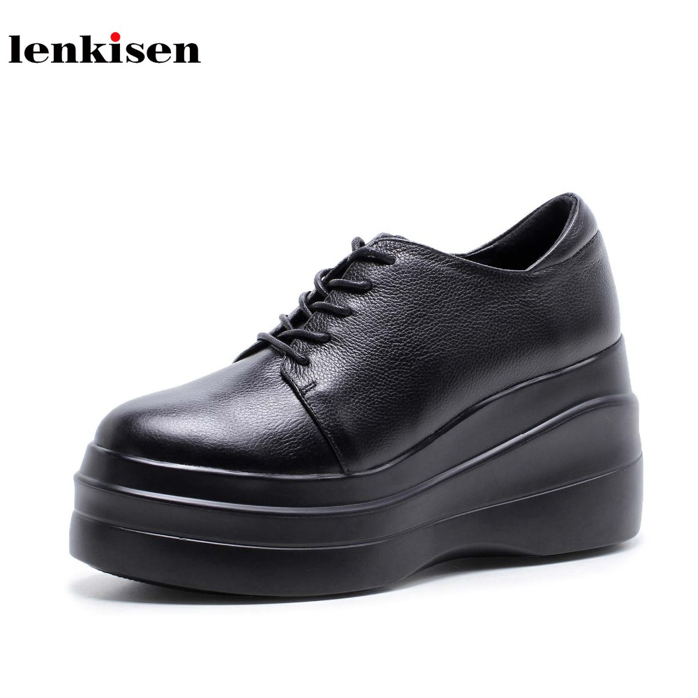 Lenkisen cow leather round toe lace up women vulcanized shoes high heel preppy style fashion runway platform causal shoes L89