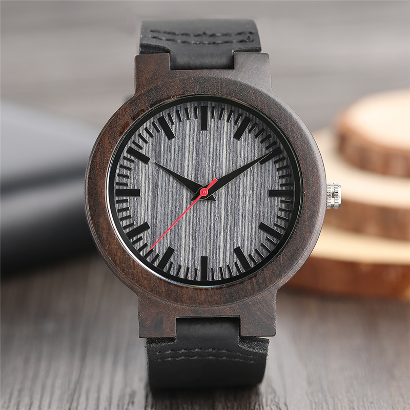 Watches Ebony Wooden Watch Men's Vintage Quartz Hand-made Wood Clock with Genuine Leather Strap Wristwatch Gift Reloj de madera new world map mens genuine leather quartz watch wood bamboo male wrist watch luxury brand reloj de madera genuine with gift box
