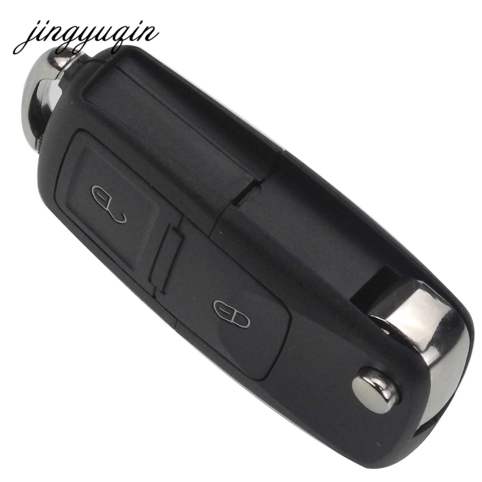 Jingyuqin hiçbir bıçak 2/3/4 düğme uzaktan çevirme katlanır araba anahtarı kabuk için VW MK4 Bora Golf 4 5 6 Passat Polo Bora Touran