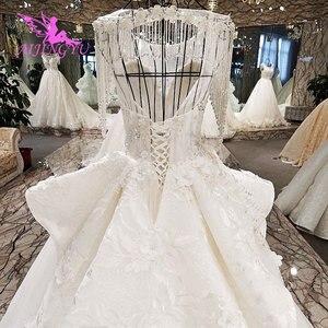Image 4 - AIJINGYU לפרוע חתונה רומנטית שמלות כלה שמלת למכירה בריטניה ארוך שרוול סוז לבן פשוט שמלת תחרה חתונה שמלת יצרנית