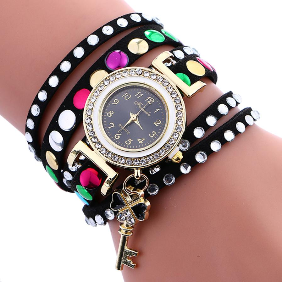 2017 NEW Stylish Key Pendant Leather Bracelet Lady Womans Technicolored Wrist Watch L8105