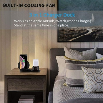 Wireless Charger Stand for iPhone AirPods Apple Watch, Charge Dock Station Charger for Apple Watch Series 5/4/3/2 iPhone 11 X XS 6