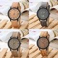 Simulación De Madera de la vendimia de Cuarzo de Los Hombres Relojes Casual Correa de Cuero Del Reloj de Las Mujeres de Color De Madera Reloj Relogio masculino
