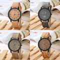 Vintage Simulation Wooden Men Quartz Watches Casual Wooden Color Leather Strap Watch Women Wristwatch Relogio Masculino