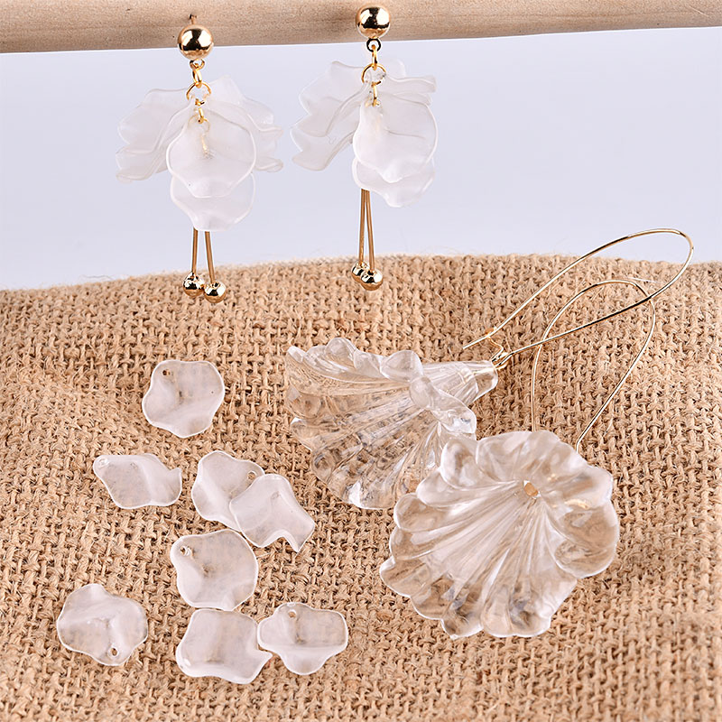 Diy Earrings Accessories Korean Super Fairy Frosted Petals Peony Slices La Given Hand Earrings