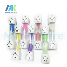 8 pcs Creative 3 minutes smiling teeth hourglass timer timing brushing game toy gifts