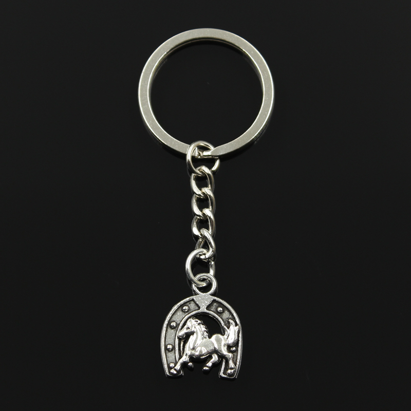 Keychain 23*18mm horse horseshoe Pendants DIY Men Jewelry Car Key Chain Ring Holder Souvenir For Gift